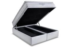 Conjunto Box Baú: Colchão Ortobom Molas SuperPocket Freedom + Cama Box Baú Courino Bianco -