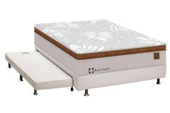 Conjunto 3 em 1 (Cama Box+Cama Auxiliar Courino Bianco) + (Colchão Sealy Posturepedic Royal Comfort Plus)
